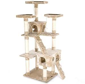 happypet cat002 2 arbre chat griffoir grattoir 182cm. Black Bedroom Furniture Sets. Home Design Ideas