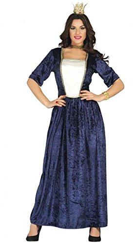 blaues Kleid als Mittelalter Kostüm für Damen , (Mittelalterliche Kostüme Blau Prinzessin)