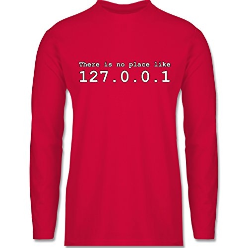 Shirtracer Programmierer - There is No Place Like 127.0.0.1 - Herren Langarmshirt Rot