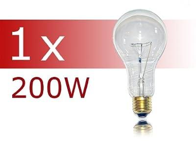 1 x Glühlampe Glühbirne 200W 200 Watt klar E27 stoßfest Glühbirnen Glühlampen