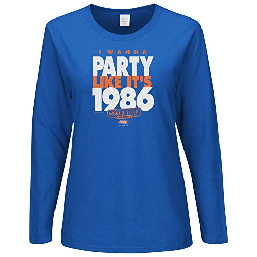 Smack Apparel NY Baseball-Fans. I Wanna Party Like It's 1986. Damen Royal Shirt (Sm-2X), langärmelig, XL