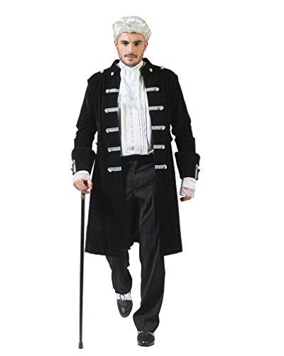 Kostüme Renaissance Mittelalter (Kostüm Monsieur Leonhard Herren Rokoko Barock Graf Größe 56/58 Renaissance schwarz Adel Karneval Fasching)