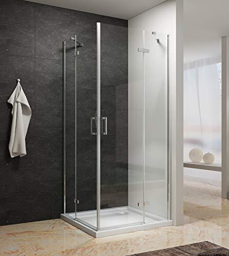 Duschkabine Eckeinstieg 90 x 100 x 195 cm mit Pendeltüren aus 6 mm ESG-Glas mit Nano Besc