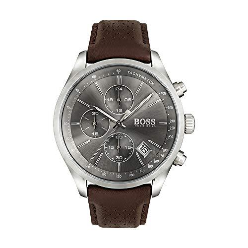 Hugo Boss Chronograph mit braunem Lederband für Herren