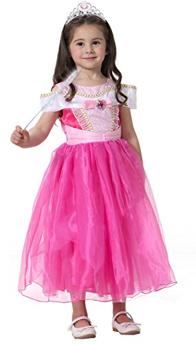 Neu Aurora Kostüm Glanz Kleider Mädchen Brosche Kleid Drop shoulder Dornröschen Prinzessin Kostüme Verkleidung Karneval Cosplay Party Halloween Weihnachten (Erwachsene Kostüme Für Dornröschen)
