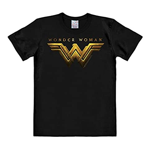 DC Comics - Film - Wonder Woman Movie Logo Short Sleeve T-Shirt for men - black - Licensed original design - LOGOSHIRT, Size