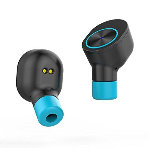 YAN Bluetooth Kopfhörer Neue Drahtlose Paar Ohr 10m Reichweite Stereo Mini Sport Earbuds eingebautes Mikrofon für Telefon, iPad, iPod, MP3-Player, Tabletten und Vieles Mehr (Color : Blue)