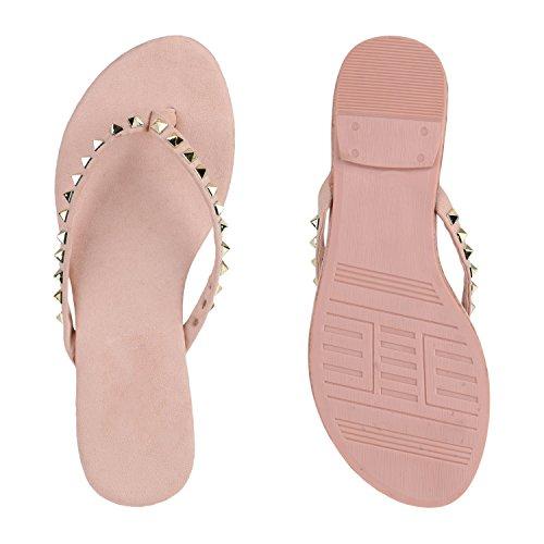 Damen Flats Sandalen Zehentrenner Metallic Strass Beach Schuhe Rosa Steine