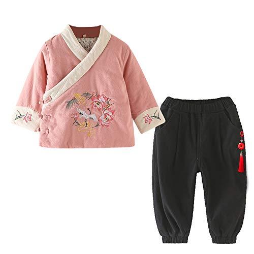 BOZEVON Baby Mädchen Winter Tang Anzug - Chinesischen Stil Hanfu Langarm Top & Hose Traditionelle Nationale Chinesische Kleidung Set, Rosa-1/120