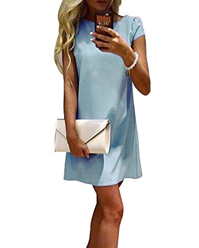 Donna Estivi Eleganti Rotondo Collo Abito Corto Vestiti Tunica Camicia Vestito Manica corta Casual Mini Vestito cielo Blu