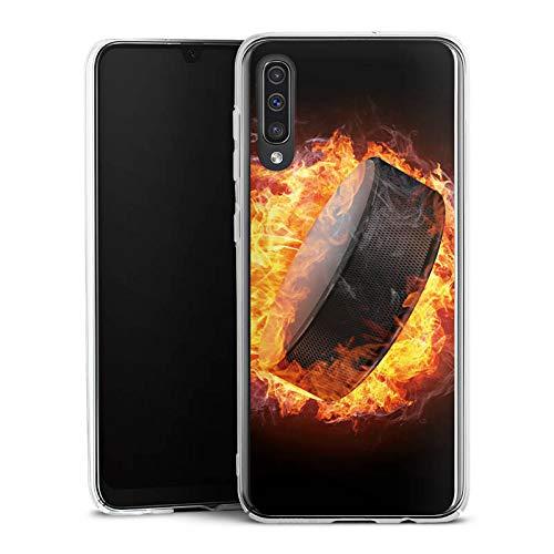DeinDesign Hülle kompatibel mit Samsung Galaxy A50 Handyhülle Case Eishockey Flammen Slapshot