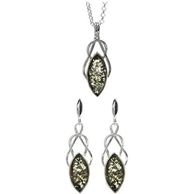 Green Amber Sterling Silver Celtic Earrings Pendant Set, Rolo Chain 46cm