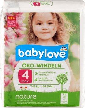 babylove Öko-Windeln nature Größe 4, Maxi, 7-18kg, 34 St