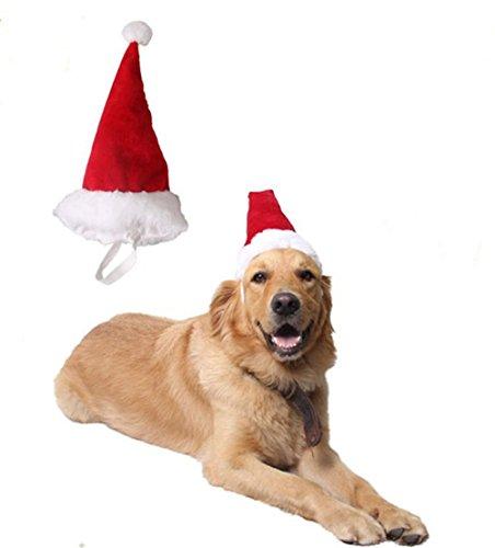 (Hund Katze Haustier Lieferungen Weihnachten Kopfschmuck groß mittelgroßer kleiner Hund rote Weihnachtsmütze Stillshine (L))
