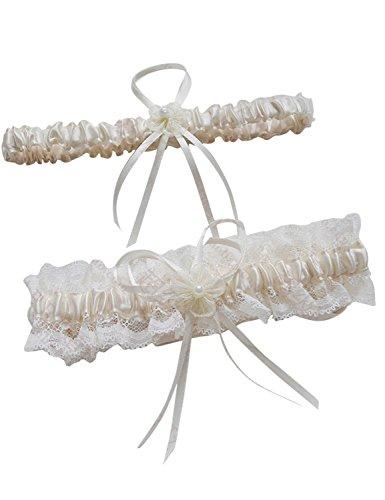 LYDIAGS Hochzeit Bridal Hen Night Do weiß blau Satin Band aus Spitze Strumpfband Gr. One size, elfenbeinfarben