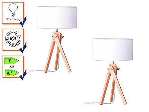 Lampada da tavolo con supporto treppiede, cromo/legno naturale, paralume in tessuto bianco Ø 30cm, Gin, (Lampade Inoltre Legno Lampada Da Tavolo)