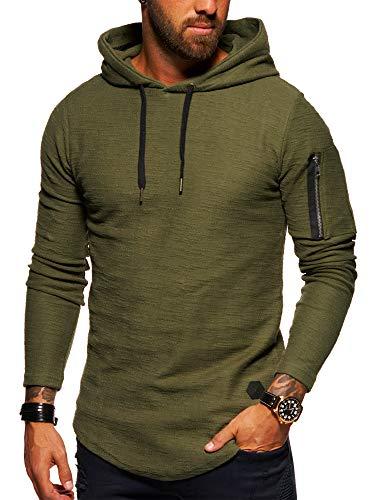 behype. Herren Oversize Kapuzen-Pullover Hoodie Sweat-Shirt 40-4722 Khaki L