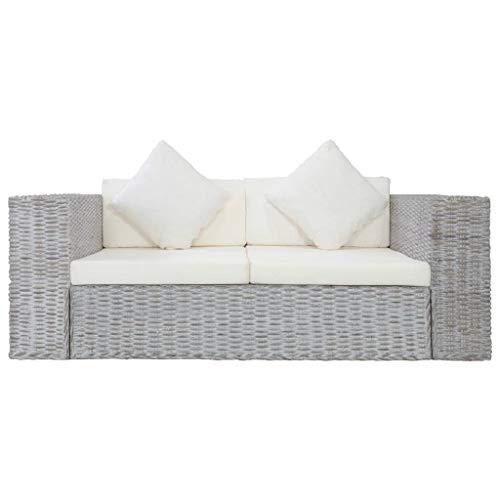 Tidyard Sofa 2-Sitzer mit Polstern Zweisitzer Loungesofa Rattansofa Sitzmöbel Rattanmöbel Wohnzimmer Möbel Büromöbel Grau Natürliches Rattan