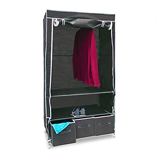 Relaxdays Faltschrank VALENTIN L HxBxT: 162 x 88 x 48 cm Stoffschrank mit 3 Schubladen und 2 Ablagen Textilschrank zum staubsicheren Aufbewahren Kleiderschrank aus Vlies-Gewebe zum Falten, anthrazit