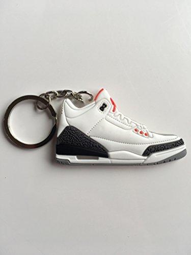 Jordan Retro 3Weiß Zement Sneaker Schlüsselanhänger Schuhe Schlüsselanhänger AJ 23OG