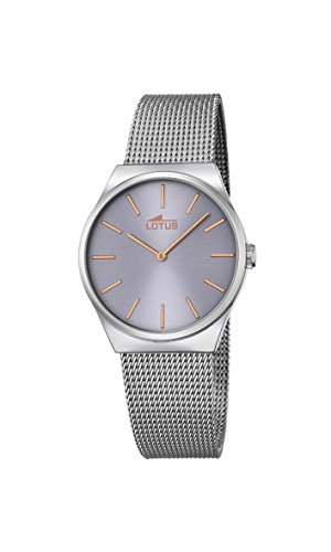 2fa223c767d3 Lotus - Reloj de cuarzo para mujer con esfera analógica gris y plateado  correa de acero inoxidable 18288 2