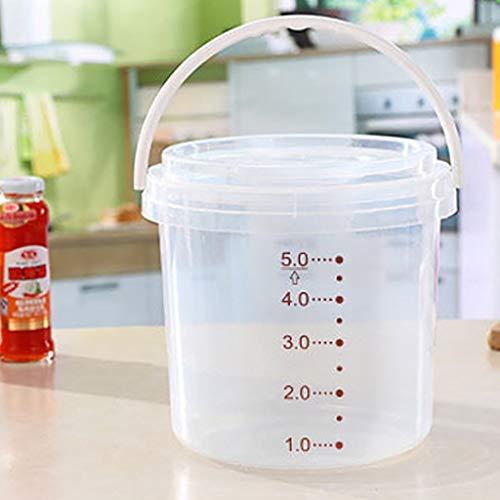 Transparenter 2.5KG-Haustierfutter-Behälter mit Griff Kleine Hunde-Lebensmittelbehälter Katzen-Lebensmittellagerung können Lagerplätze 5L-Lebensmittellagerbehälter 1 Messbecher PP runder Griff Design - Runde Lagerplätze