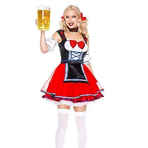 Deutsches Dirndl-Kleid, Für Frauen Ladies Maid Actresstraditional Bavarian Costume Dress, Für Oktoberfest Halloween Carnival,M (Lucky Lady Kostüm)
