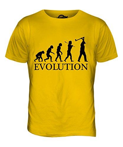 CandyMix Holzhacken Evolution Des Menschen Herren T Shirt Dunkelgelb