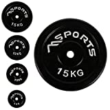 MSPORTS Hantelscheiben Paar Professional aus 100% Gusseisen 5-20 kg Hantel (2 x 15 kg - Schwarz)