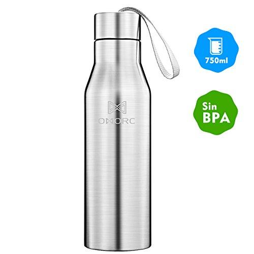 OMORC 750ml Aislada al Vacío de Acero Inoxidable Botella de Agua Conserva...