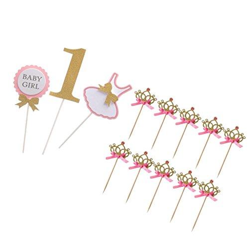 MagiDeal 10pcs / Set Krone Kuchendeckel Tortendeko Hochzeitstorte Topper Kuchendekoration + BABY GIRL 1st Geburtstag Cake Topper (Baby Girl 1. Geburtstag Dekor)