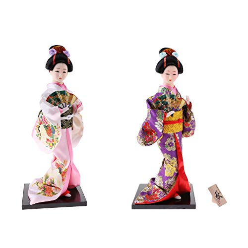 Sharplace 1 Stück 30cm Orientalische Japanische Kimono Kabuki Puppe Aus Harz, Holz, Stoff, Kunststoff