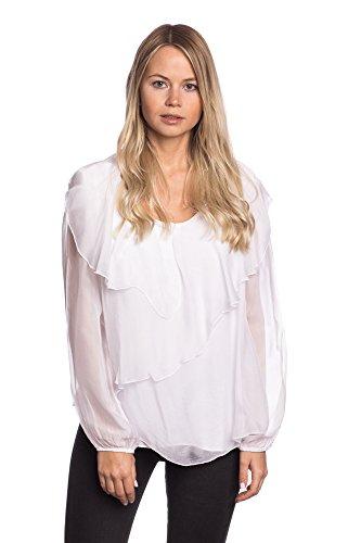 Abbino 8554 Blouses Chemisiers Tops Femmes Filles - Fabriqué en Italie - 6 Couleurs - Transition Printemps Été Automne Plaine Elegante Vintage Classique Casual Promotion Manches - Taille unique Blanc