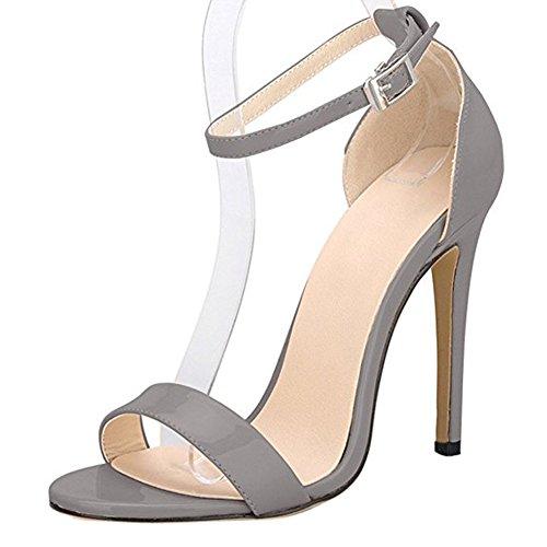 Damenschuhe Open Toe Mehrfarbig Sandalen High-Heels Stiletto Riemchen Lack Grau