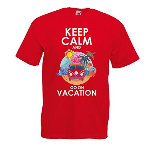 Maglietta da uomo Andate a Vacanza, abiti carini, abiti da spiaggia, usura resort Rosso Multicolore