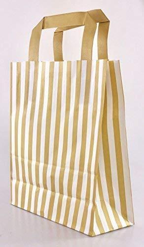 We Can Source It Ltd 1000 X Gold Candy Streifen Papier-Träger Taschen mit Flache Griffe - 18cm X 22cm X 8cm - Wecansourceit (Interior Flache Tasche)