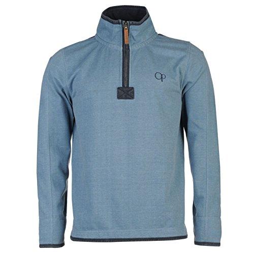 ocean-pacific-hombre-1-4-pique-sueter-jersey-manga-larga-alto-cuello-cremallera-azul-small