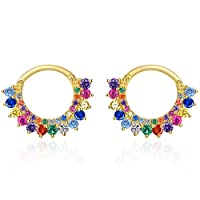 925 Sterling Silver Small Hoop Earrings, 14K Gold Plated Rainbow Huggie Earrings for Girls, AAA Colorful Cubic Zirconia Round Circle Earring, For Sensitive Ears