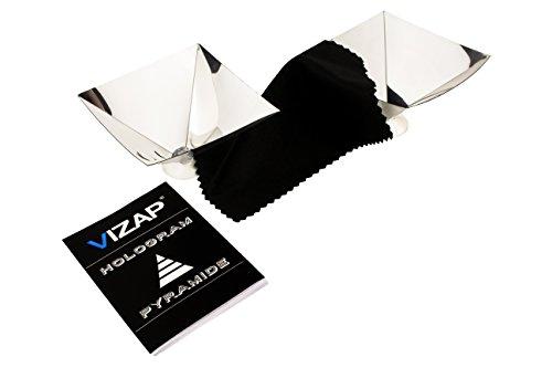 Vizap 2er-Set 3D Smartphone Hologramm Folie/Projektor Pyramide mit einzigartigen 3D Effekten inkl. kostenlosem Reinigungstuch