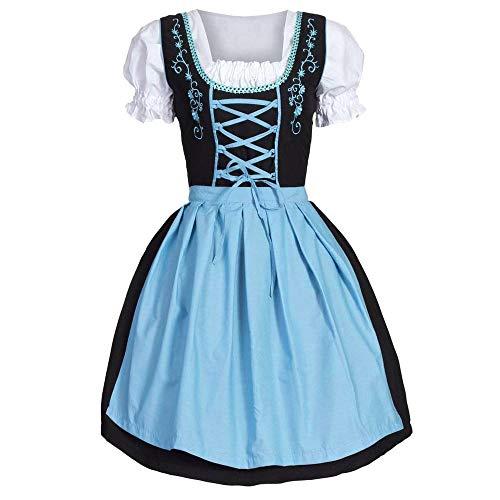 Girl Blau Mod Mädchen Kostüm - Cuteelf Frauen Oktoberfest Kleidung Bayerisches Bier Mädchen Dirndl Bistro Maid Kleid Oktoberfest Maid Kostüm Kostüm Bestickt Kleid Volltonfarbe Retro Taille Tutu Puff Sleeve
