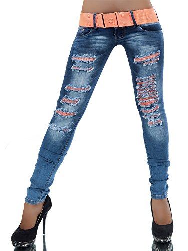 L532 Damen Jeans Hose Hüfthose Damenjeans Hüftjeans Röhrenjeans Röhrenhose Röhre, Farben:Blau, Größen:40 (L)