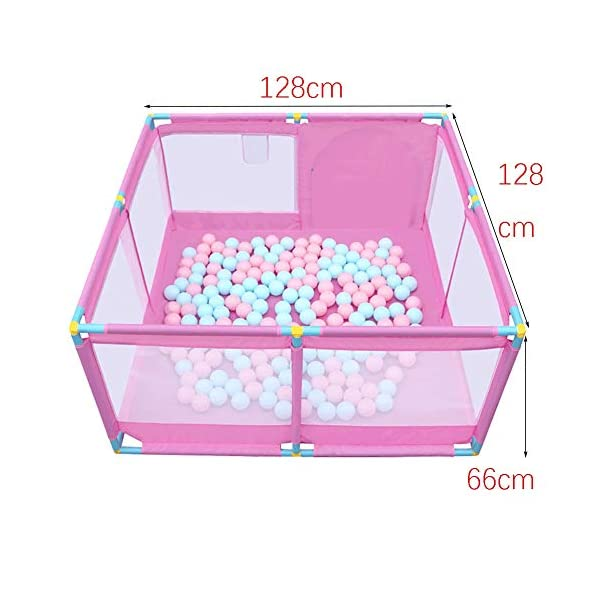 Portable Pink Playpen, Toddler Game Security Fence with Basketball Hoop, 128×128×66cm (Size : Playpen+200ball) Playpens  2