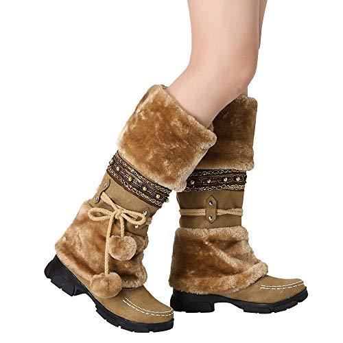 TianWlio Stiefel Frauen Herbst Winter Schuhe Stiefeletten Boots Wildleder Haarballen Runde Zehe Platz Absatz Schuhe Halten Warme Schlüpfen Schnee Stiefel Braun 43