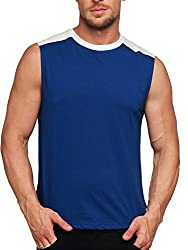 Gritstones Indigo/White Round Neck Sleeveless Vest (t shirts) GSVST1486INDWHT-XL