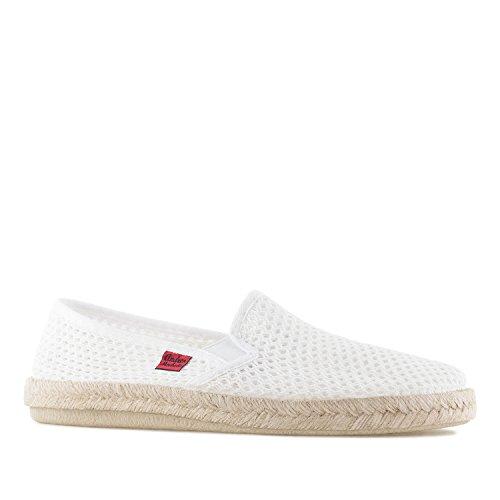 Andres Machado - Unisex Slip-On Schuhe aus weißem Stoff in Netzstruktur. Gummisohle mit Jute-Rand. Gr. 47