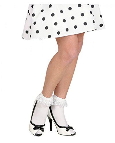 Weiße Spitzensöckchen als Kostüm-Accessoires für Zombie Schulmädchen & - Rockabilly Halloween Zombie