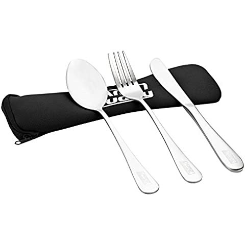 Camp Buddy camping cubertería de acero inoxidable, cuchara – tenedor – Cuchillo, 240 mm, negro