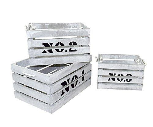 Rebecca Srl Set 3 Cassette Legno Bianco Rustico Oggettistica Casa Giardino Garage (Cod. YY20151002)