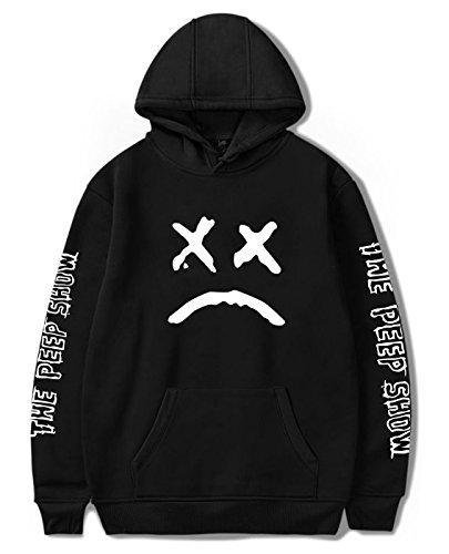 SIMYJOY Unisex Lil Peep Hoodie Emo Rap Coole Pullover Crybaby Spotlight Straßen Fashion Sweatshirt Für Männer Frauen Mädchen und Jugenden, Schwarzes, M