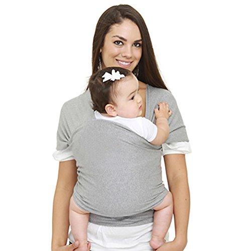 SWEETBB elastische Babytragetuch Babytrage Tragetuch Tragehilfe für Neugeborene Baumwolle (Grau)